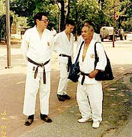 Sensei Kim on the Guelph College Campus accompanied by his long time friend and associate, Sensei Leong.