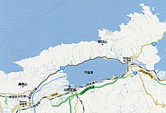 Map of Shimane prefecture, showing Matsue, right, and Izumo, left, with Lake Shinji in the center (Google Maps).